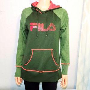 #1145 FILA Green Pink Hoodie Sweatshirt Medium
